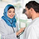 Arab Doctor examining patient-thumb